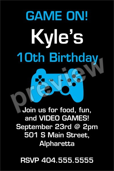 Game On Video Birthday Party Invitation Template Printable