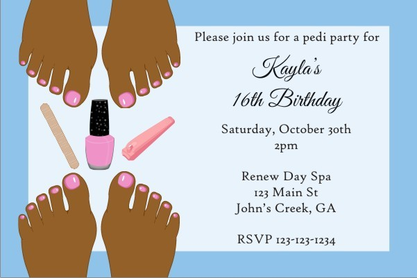 Pedicure Party Invitation - Brown Skin
