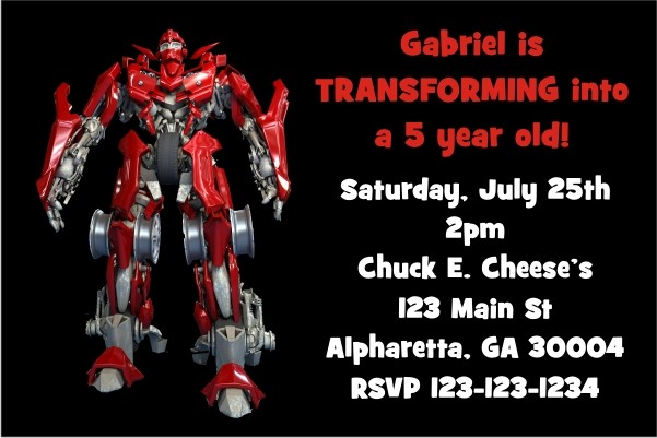 Transforming Robot (Like Transformers) Invitation
