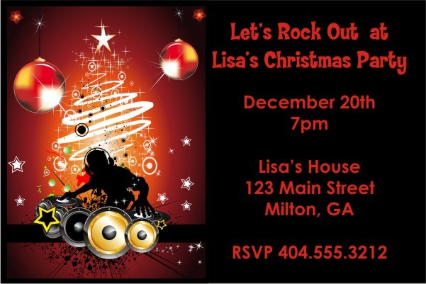 Christmas Dj Holiday Party Invitation Personalized Party Invites