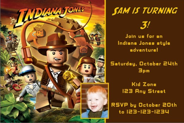 lego indiana jones invitation personalized party invites