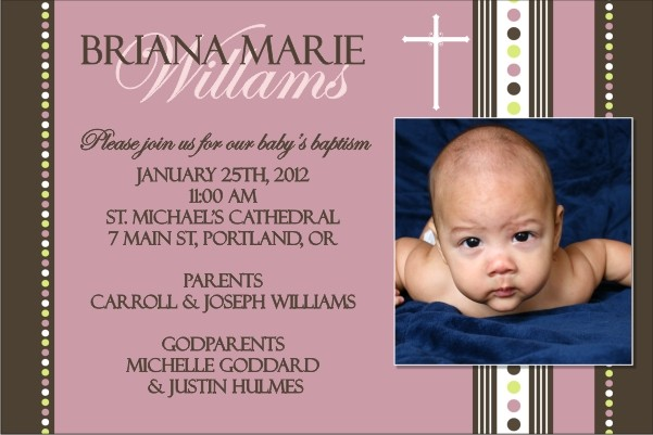 Communion / Baptism Photo Invitation 6 - Pink