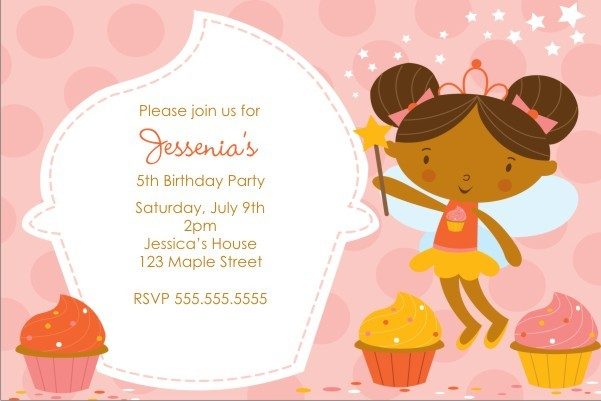 Cupcake Fairy Princess Invitation - Pink Delight