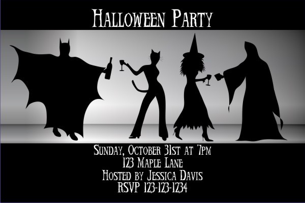 adult halloween costume party invitation - batman, catwoman, witch, Party invitations
