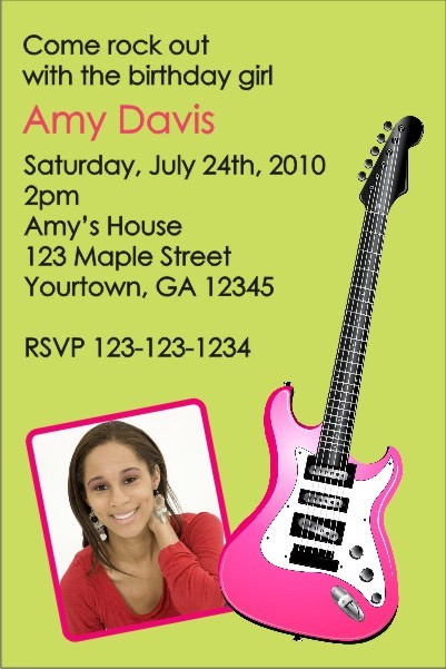 Electric Guitar Photo Invitation