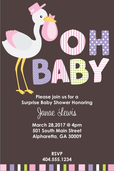 Oh Baby Stork Shower Invitation - Pink