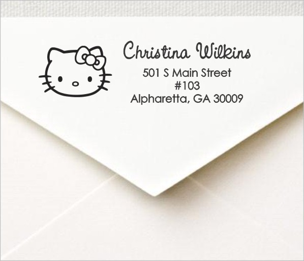hello kitty custom return address self inking stamp personalized