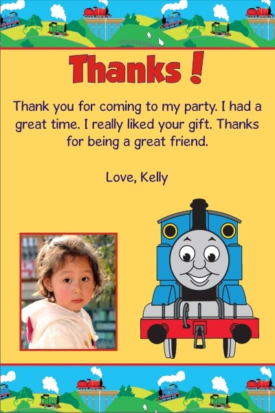 Thomas the Tank Engine Train Thank You Cards Choo Choo Yellow