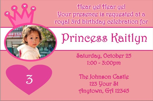 Princess Photo Invitations 2