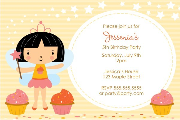 Cupcake Fairy Princess Invitation - Circle Fun