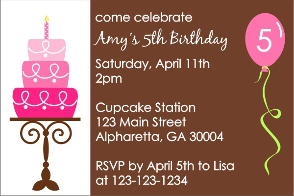 Birthday Cake Invitation