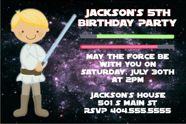 Star Wars Inspired Jedi Invitation -Blond Hair