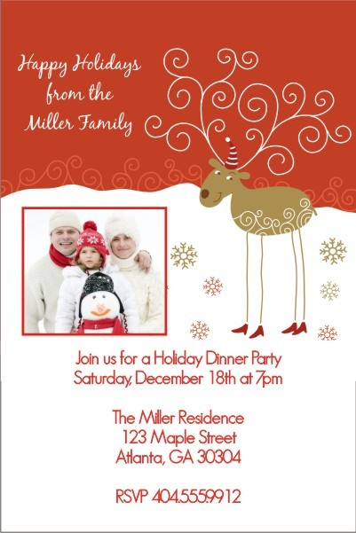 Christmas Reindeer Holiday Card Party Invitation - Photo