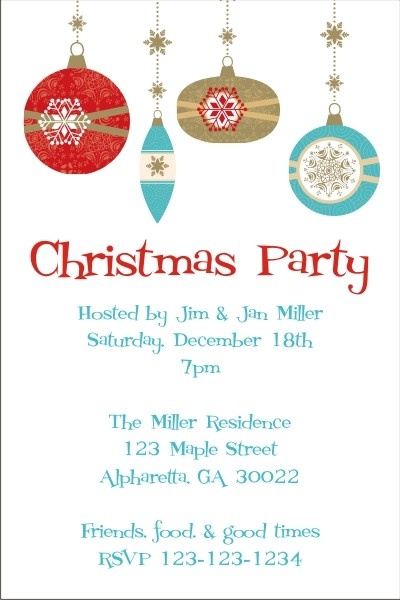 Retro Ornaments Christmas Holiday Card Party Invitation