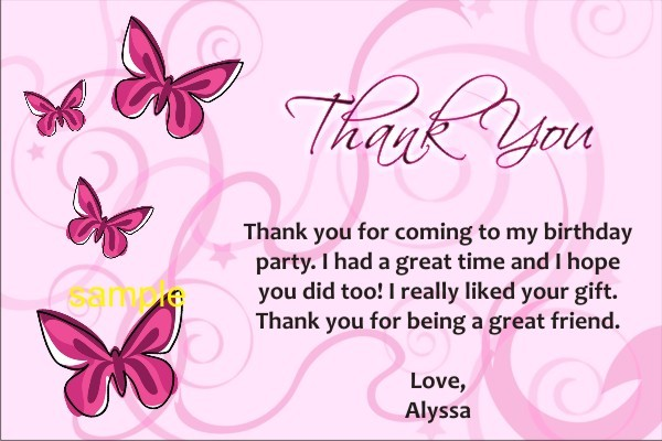Butterfly Thank You Cards Personalized Party Invites