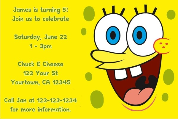 Spongebob Squarepants Invitations 2