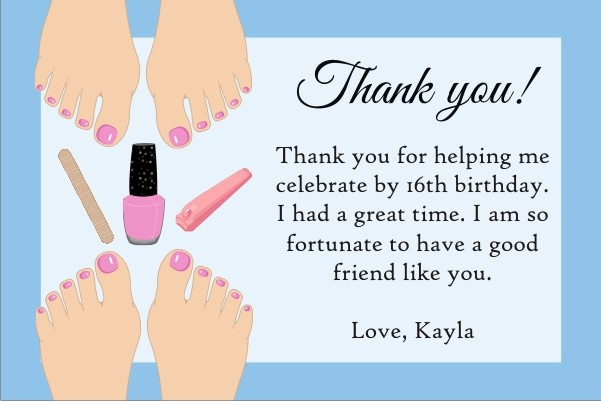 Pedicure Thank You Card - Light Skin