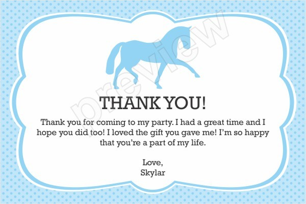Horse custom thank you card