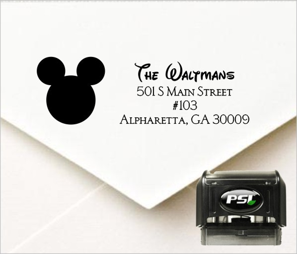 mickey mouse inspired personalized self inking address stamp
