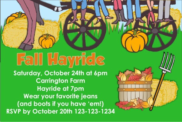 Fall Autumn Hayride Invitation