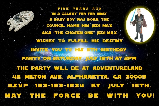 Star Wars Photo Invitations Personalized Party Invites
