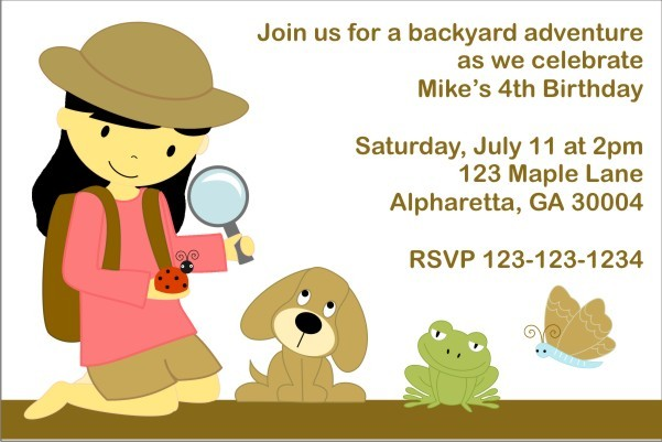 Backyard Adventure Invitation (Customizable Girl)