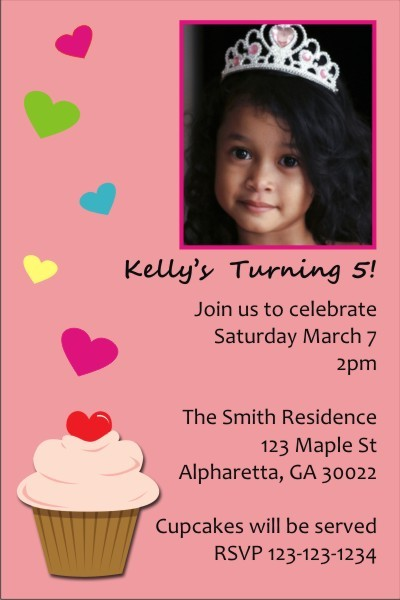 Cupcake with Hearts Photo Invitation