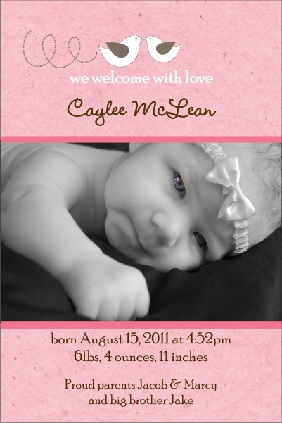 Precious Birds Pink Girl Photo Birth Announcement Card