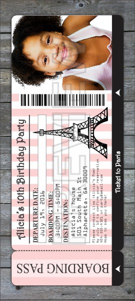 Paris Boarding Pass Party Photo Invitation Personalized Party Invites