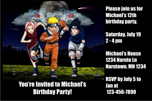 Naruto Invitation Templates - Free Custom Invitation Template Design | Verrado Drift