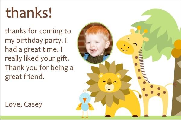 Jungle Safari Thank You Cards - Giraffe, Lion, Bird