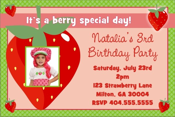 Strawberry Shortcake inspired Photo Invitation