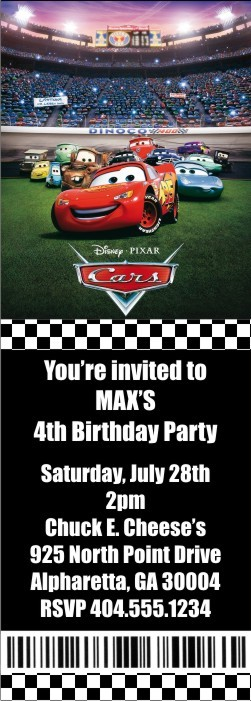 Cars Ticket Style Invitation (Slim) Personalized Party Invites