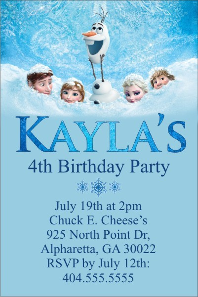 Frozen Movie Invitation Personalized Party Invites