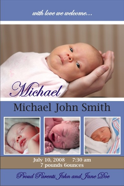 Newborn Baby Birth Announcement (blue)
