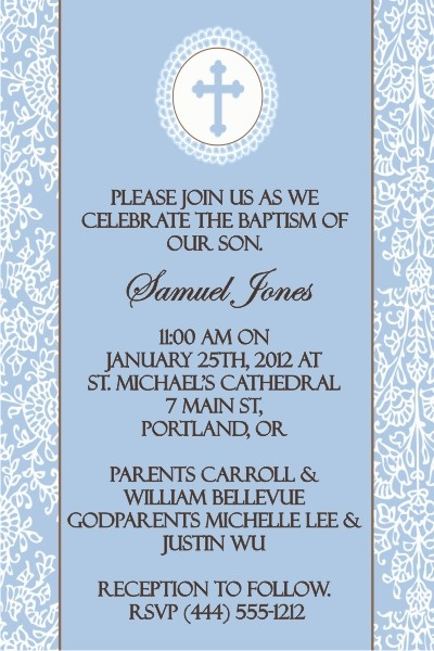 Communion / Baptism Invitation - Cocoa Blue