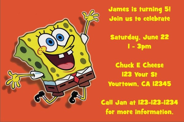 Spongebob Squarepants Invitations Orange Joy Personalized Party – Spongebob Party Invitations