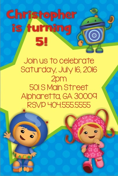 team umizoomi invitation personalized blue