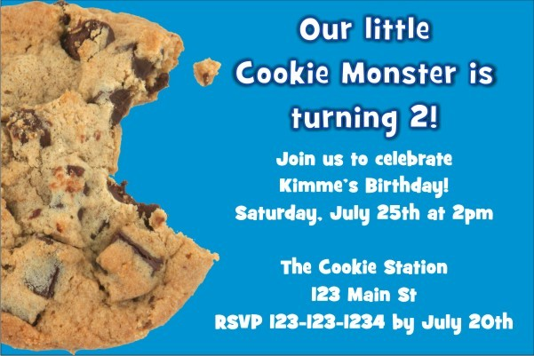 Cookie Monster Invitation Personalized Party Invites