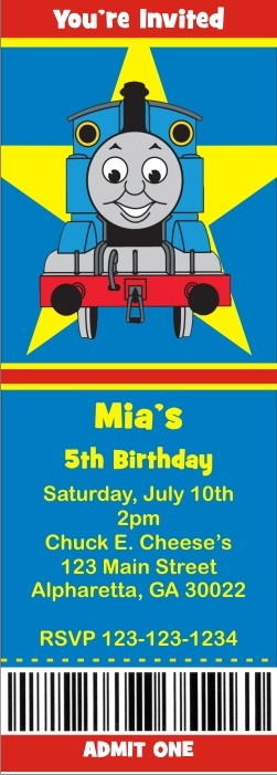 "thomas the tank engine train ticket style invitations (2.5""x7, Party invitations"