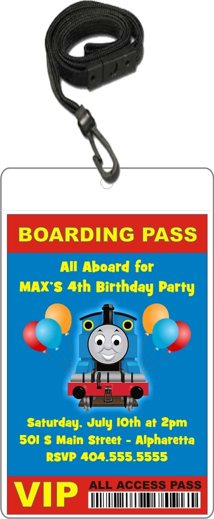 Thomas the Train Tank Engine VIP Pass Invitation w Lanyard – Thomas the Train Birthday Invites