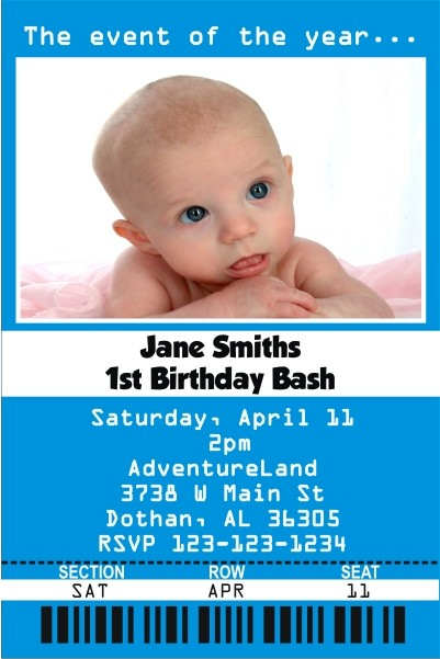 Ticket Style Photo Invitation - ALL COLORS