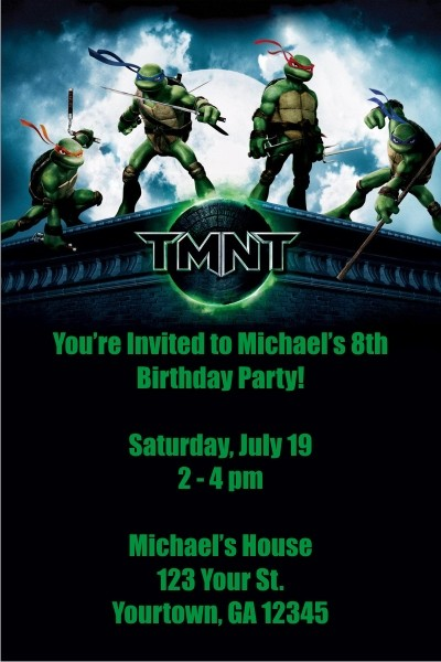 teenage mutant ninja turtles invitations  tmnt personalized party, Birthday invitations