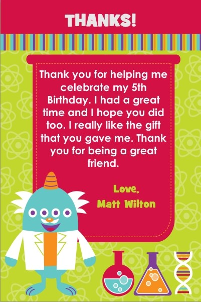 Monster Science Thank You Card - Four Eyes