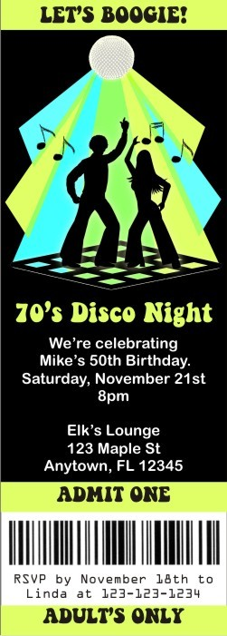 Disco Ticket Style Invitations Slim Style Personalized Party Invites - Disco birthday invitation templates free