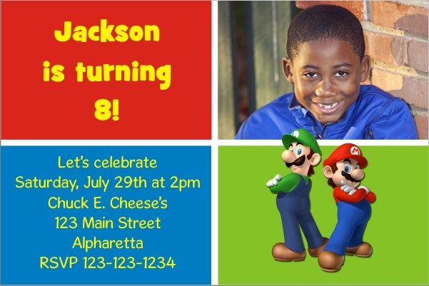 Super Mario Brothers Mario and Luigi Photo Invitation – Super Mario Bros Party Invitations