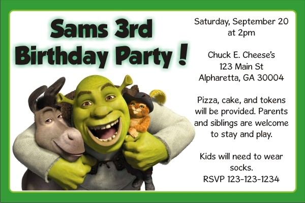 shrek invitations personalized party invites