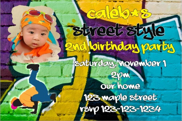 Hip Hop Graffiti Photo Invitations