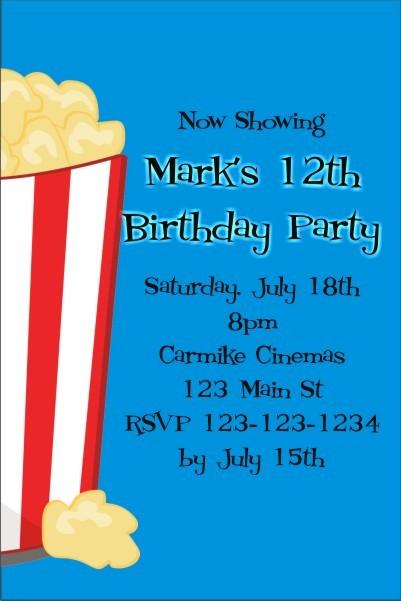 Movie Popcorn Invitation - ALL COLORS Personalized Party ...