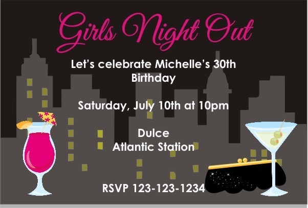 Girls Night Out or Bachelorette Party Invitation